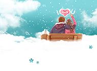 浪漫可爱情侣卡通主题背景图片