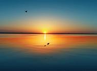 黄昏大海夕阳唯美海滩风景图片