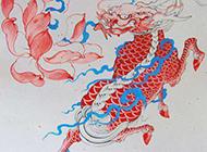 带色的烈火麒麟纹身手稿