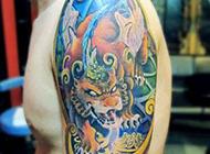 型男手臂貔貅纹身图片欣赏
