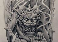 霸气个性貔貅纹身手稿