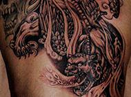 男生霸气后背貔貅纹身图案