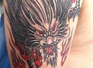 炫酷经典的手臂烈火麒麟纹身