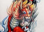 大气的麒麟纹身手稿图