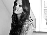 欧美性感美女彩绘花臂纹身图案