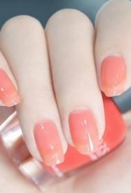 简单又好看的显白粉色法式美甲图片