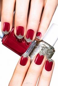 简单的大红色搭配银色亮片新娘美甲图片