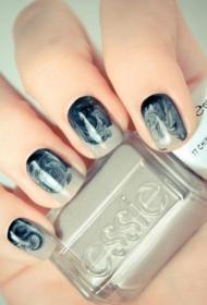 简单又好看富有艺术感的短指甲水染美甲图片