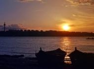 多瑙河日落风景图片背景