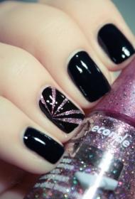 黑色搭配粉色亮片指甲油短指甲美甲图案