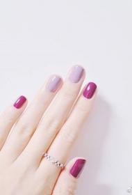 简单的纯色QQ甲油胶短指甲美甲款式图片