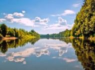 倒映湖水树林景色壁纸图片下载