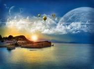 唯美蓝天白云大海风景壁纸