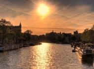 阿姆斯特丹的日落风景壁纸