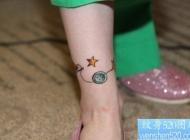 小清新腿部个性五角星纹身图案