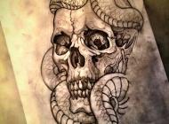 school蛇和骷髅纹身图案手稿