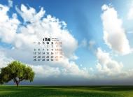 2015年10月日历高清草原风景电脑桌面壁纸1下载