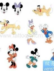 一组可爱的米老鼠唐老鸭纹身图片图案