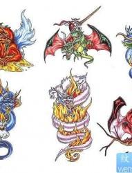 卡通纹身图片:欧式龙火焰骷髅纹身图片