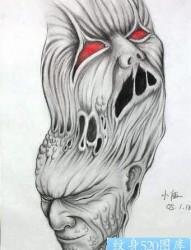 恶魔纹身图片:恶魔鬼头纹身图案