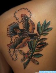 后背时尚的流行的old school小燕子纹身图片