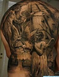 一张欧美经典满背人物纹身图案