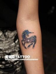 女人手臂小巧前卫的星空独角兽纹身图片
