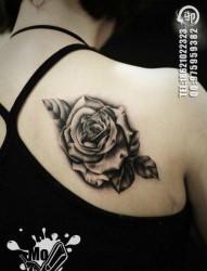 女人肩背好看唯美的黑白玫瑰花纹身图片