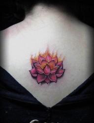 流行时尚的女人背部彩色莲花纹身图片