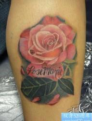 腿部纹身图片:腿部玫瑰花纹身图片图案