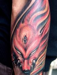 手臂纹身图片:超经典超帅的手臂九尾狐纹身图片图案(精品)