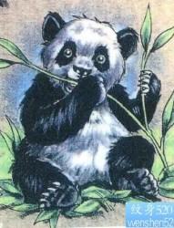 国宝熊猫吃竹子可爱的纹身图片图案(tattoo)