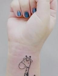 手臂可爱的小长颈鹿纹身图片