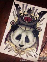 前卫很酷的一张熊猫纹身手稿