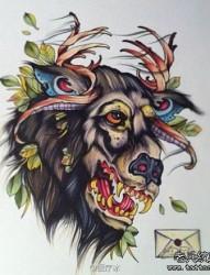 一张school风格的羊头纹身手稿