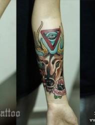手臂流行精美的小鹿纹身图片