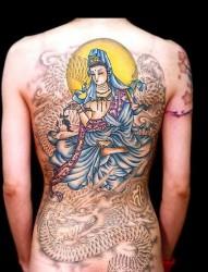 纹身图片:满背观音龙纹身图片图案