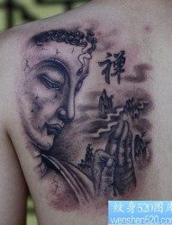 背部一张经典的佛头纹身图片