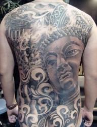 男生帅气的满背如来佛祖纹身图片