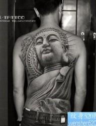 超帅经典的满背佛纹身图片