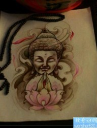流行前卫的一张佛纹身手稿