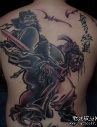 一张满背水墨画风格钟馗纹身图片