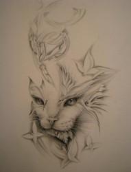 漂亮的猫头纹身手稿
