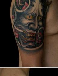 手臂很酷霸气的般若纹身图片