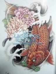 鲤鱼牡丹纹身图片图案