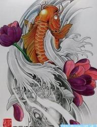 好看的鲤鱼莲花纹身手稿