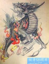 麒麟兽纹身:彩色神兽麒麟纹身图案