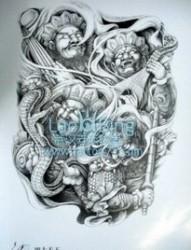 满背纹身图片:适合做满背的四大天王纹身图片图案