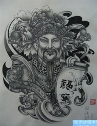 财神纹身图片图案