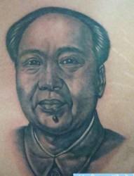 毛主席纹身图片:毛主席毛泽东肖像纹身图案